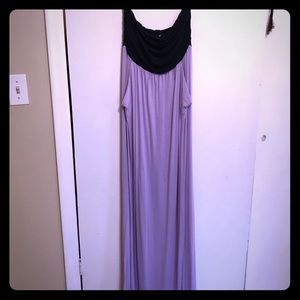 Navy and Lavender strapless maxi dress